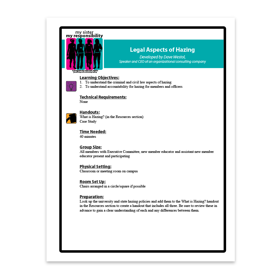 Legal Aspects of Hazing Facilitation Guide