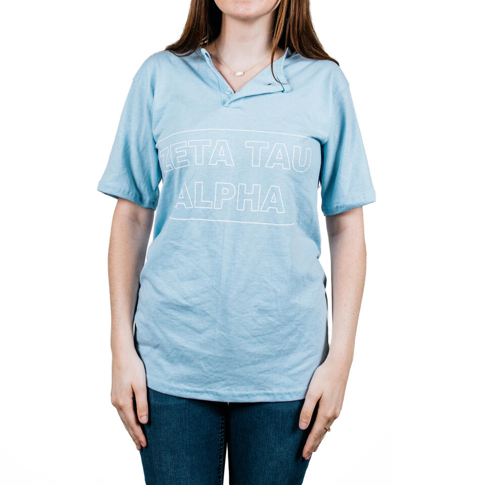Zeta Tau Alpha Light Blue Baseball Tee