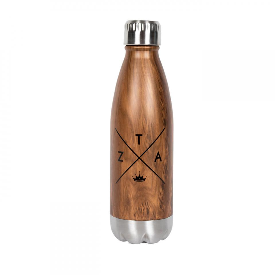 Wood Tone Aluminum Water Bottle